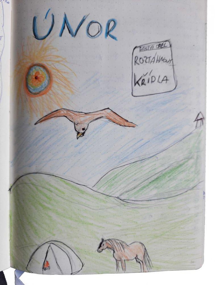 Kreslená titulní strana bullet journal Hanky Toulavé