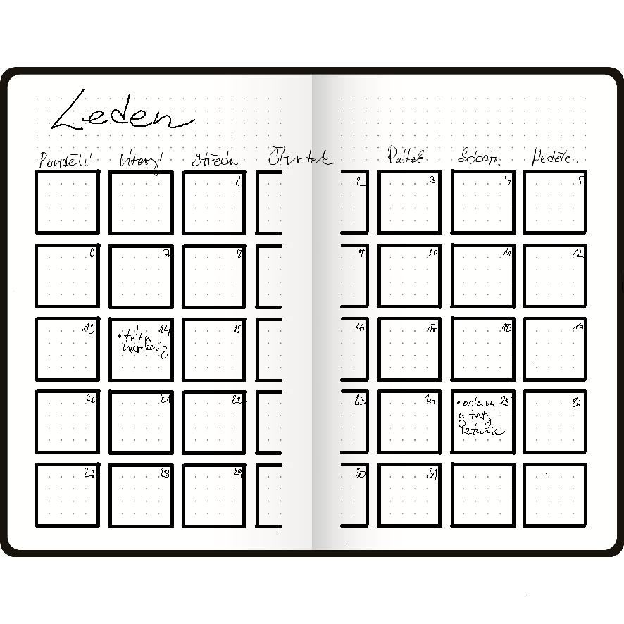 Vzorový měsíční bullet journalu minimalisty (Martezi.cz)