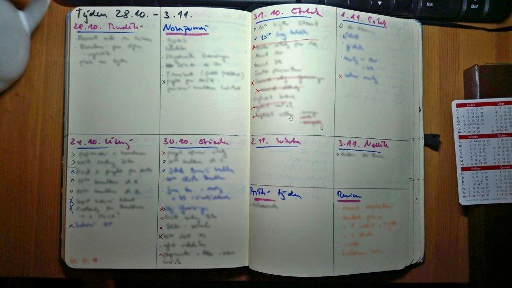 Bullet journal - varianta týdenního přehledu s kolonkou Nezapomeň (Martezi.cz)